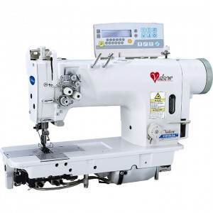 V-8720-D4 AUTO DIR DRIVE 2 NDL LOCK SEW MACHINE UNDER TRIMMER/FOOT LIFTER/ DIRECT DRIVE MOTOR